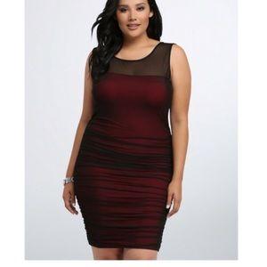 Size 3 3X 22 24 Torrid Shirred Bodycon Mesh Dress